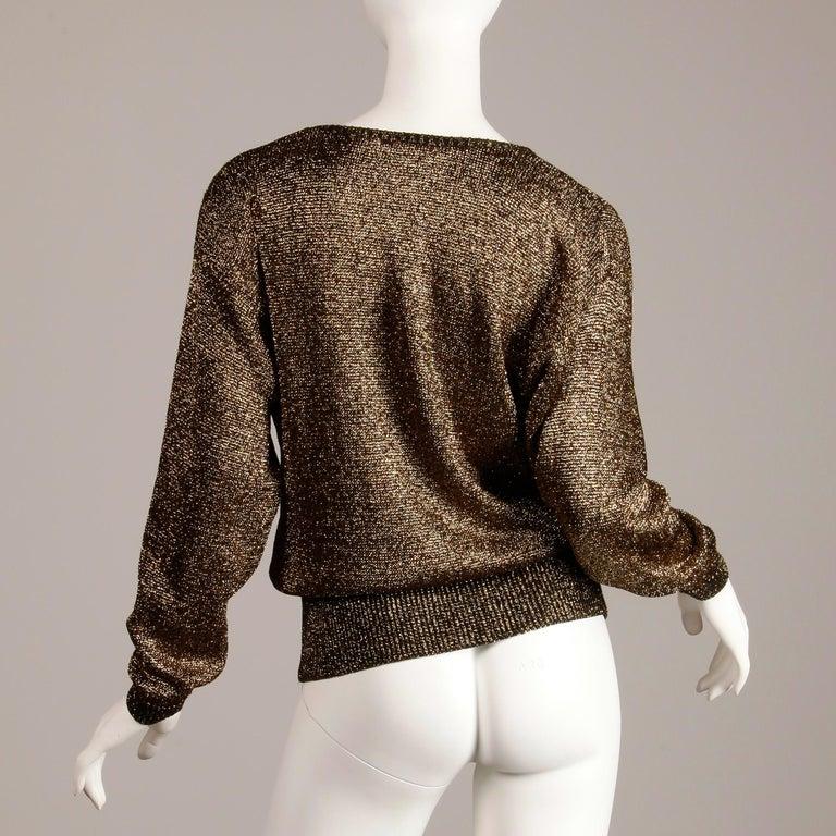 Women's 1980s Pierre Cardin Vintage Metallic Gold Knit Sweater Top or Jumper For Sale