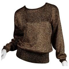 1980s Pierre Cardin Vintage Metallic Gold Knit Sweater Top or Jumper