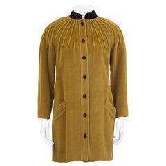 1980's Valentino Pin-Tuck Detail Tan Wool Coat