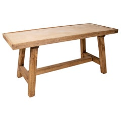 1980s Pine Wood Table with Natural Finish