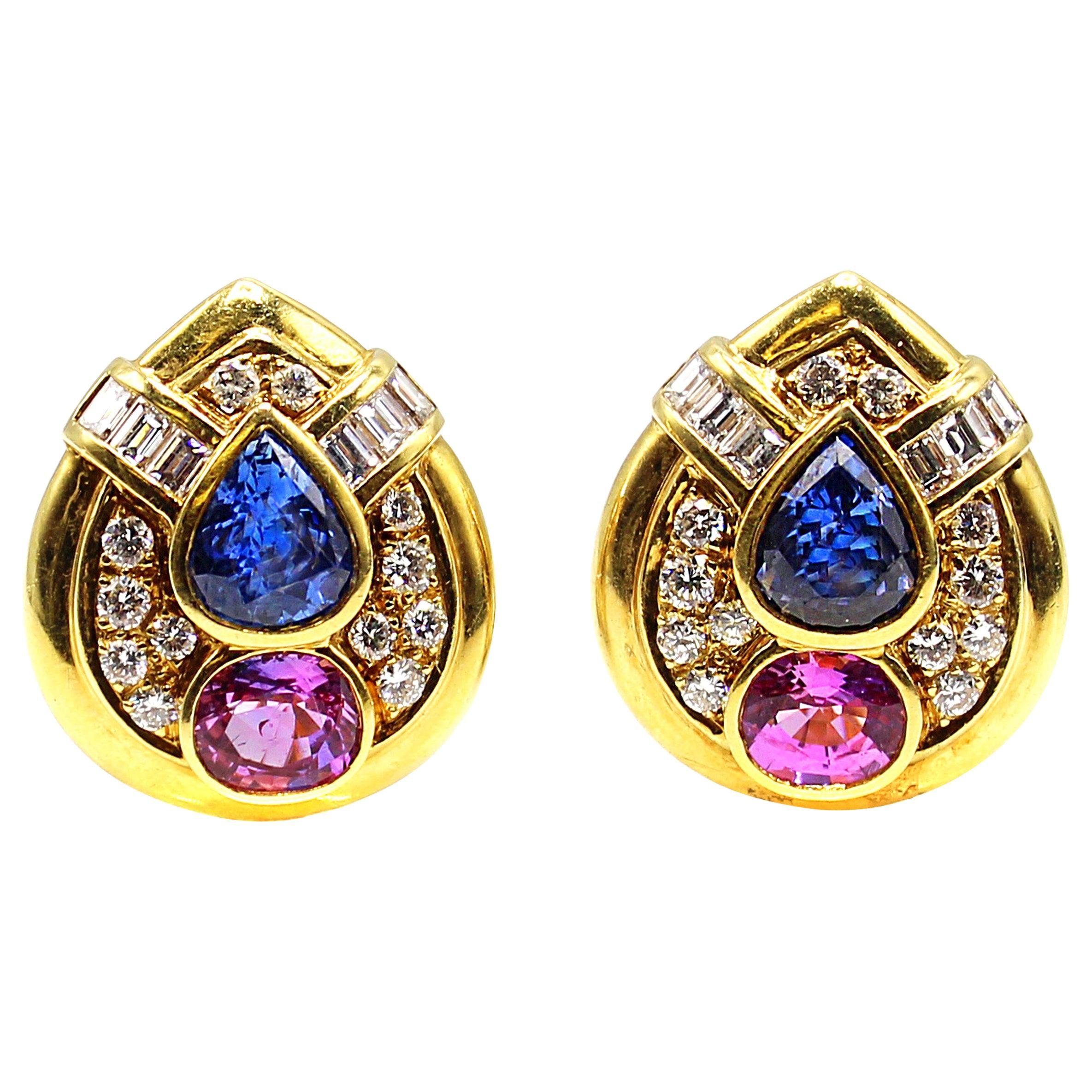 1980s Pink and Blue Sapphire Diamond 18 Karat Gold Teardrop Ear Clips