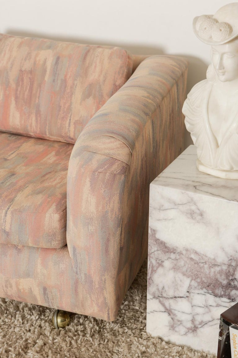 1980s Pink Bloomingdales Custom Made 3 Seater sofa with Brass Casters For Sale 4