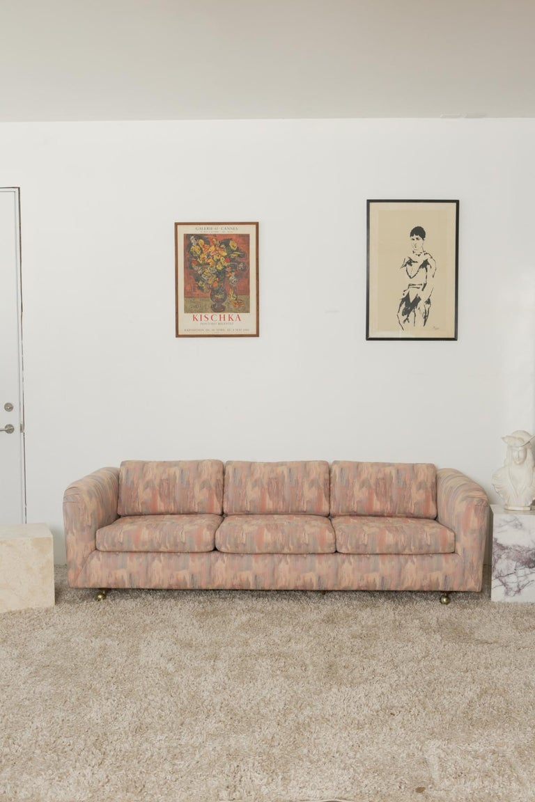 1980s Pink Bloomingdales Custom Made 3 Seater sofa with Brass Casters For Sale 5