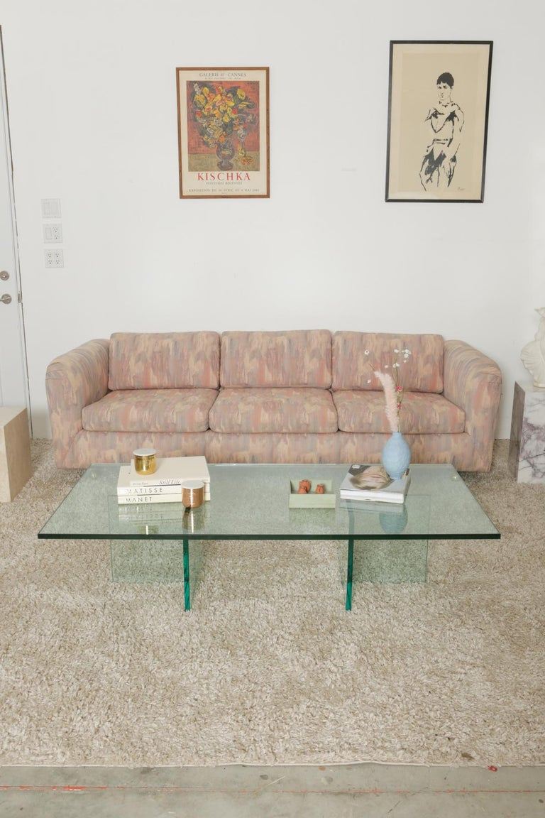 Mid-Century Modern 1980s Pink Bloomingdales Custom Made 3 Seater sofa with Brass Casters For Sale