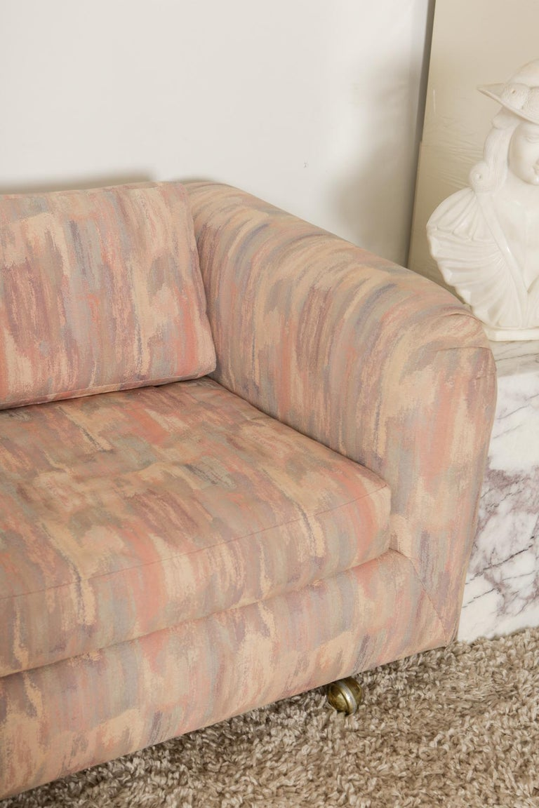1980s Pink Bloomingdales Custom Made 3 Seater sofa with Brass Casters In Good Condition For Sale In Armonk, NY
