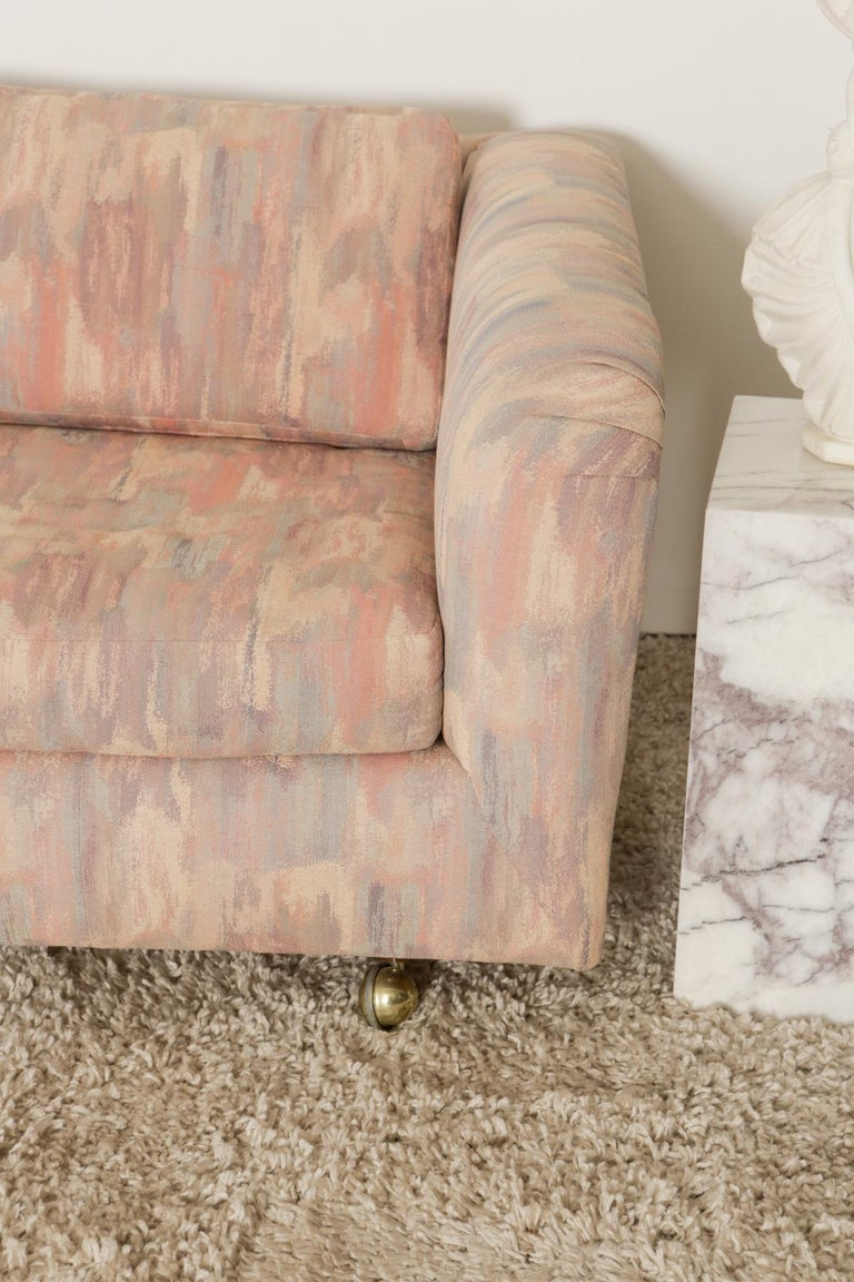 20th Century 1980s Pink Bloomingdales Custom Made 3 Seater sofa with Brass Casters For Sale
