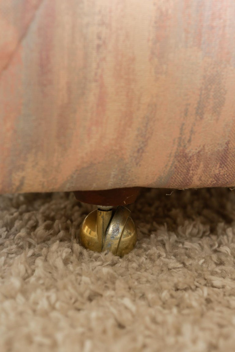 Upholstery 1980s Pink Bloomingdales Custom Made 3 Seater sofa with Brass Casters For Sale