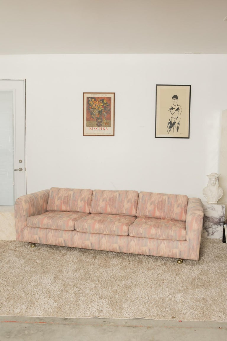 1980s Pink Bloomingdales Custom Made 3 Seater sofa with Brass Casters For Sale 1
