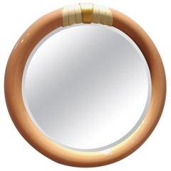 1980s Pink Circular Wall Mirror