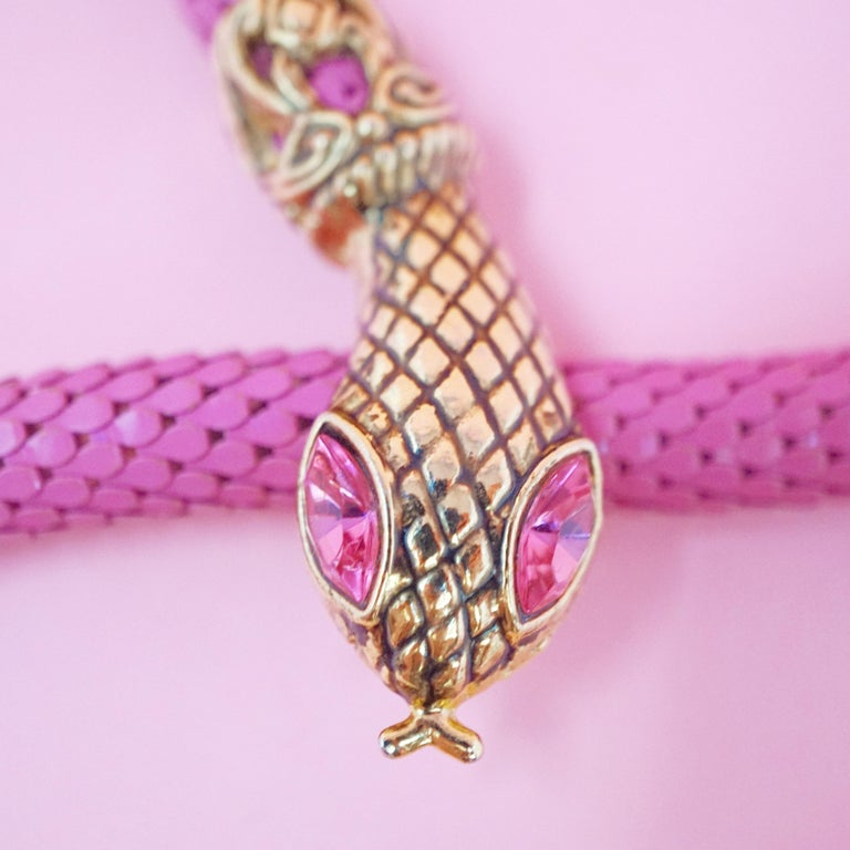 Women's 1980's Pink Mesh Snake Belt or Necklace by DL Auld Co, Signed For Sale