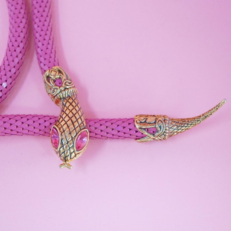 1980's Pink Mesh Snake Belt or Necklace by DL Auld Co, Signed For Sale 1