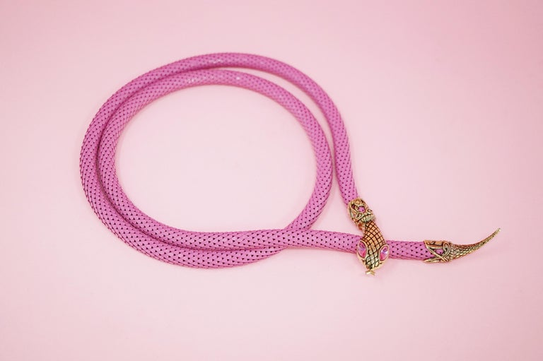 1980's Pink Mesh Snake Belt or Necklace by DL Auld Co, Signed In Excellent Condition For Sale In Los Angeles, CA