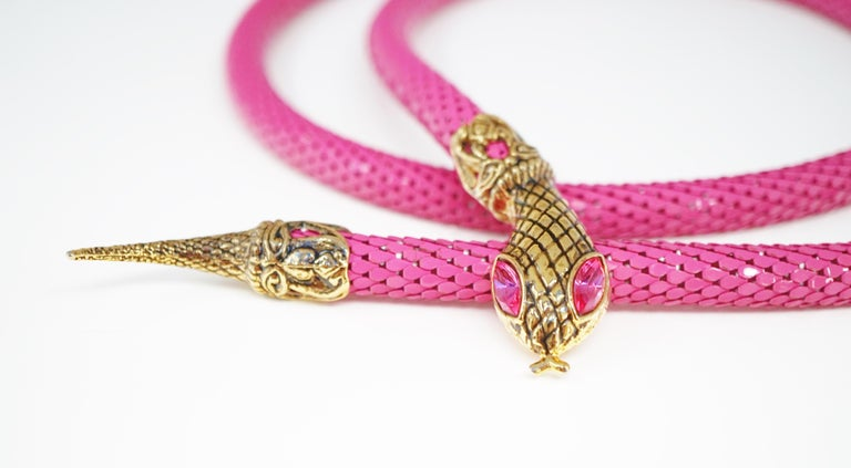 1980's Pink Mesh Snake Belt or Necklace by DL Auld Co, Signed For Sale 3