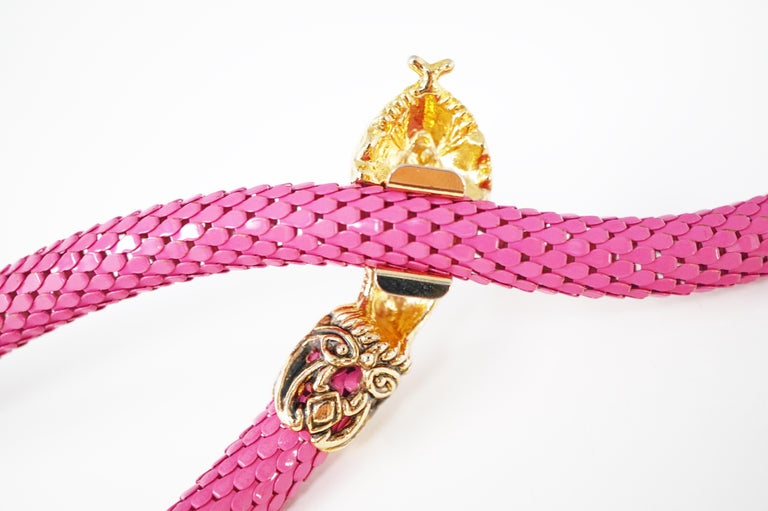 1980's Pink Mesh Snake Belt or Necklace by DL Auld Co, Signed For Sale 4