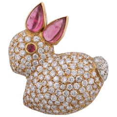 1980s Pink Tourmaline, Ruby with Pave Diamonds Figural Gold Baby Bunny Brooch