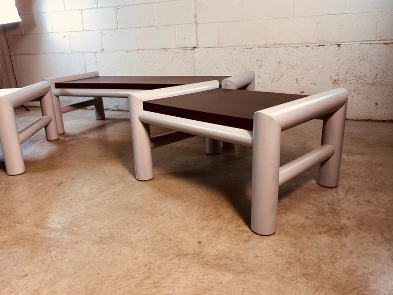 Post-Modern 1980s Plastic Indoor/Outdoor Table Set, 3 Pcs For Sale