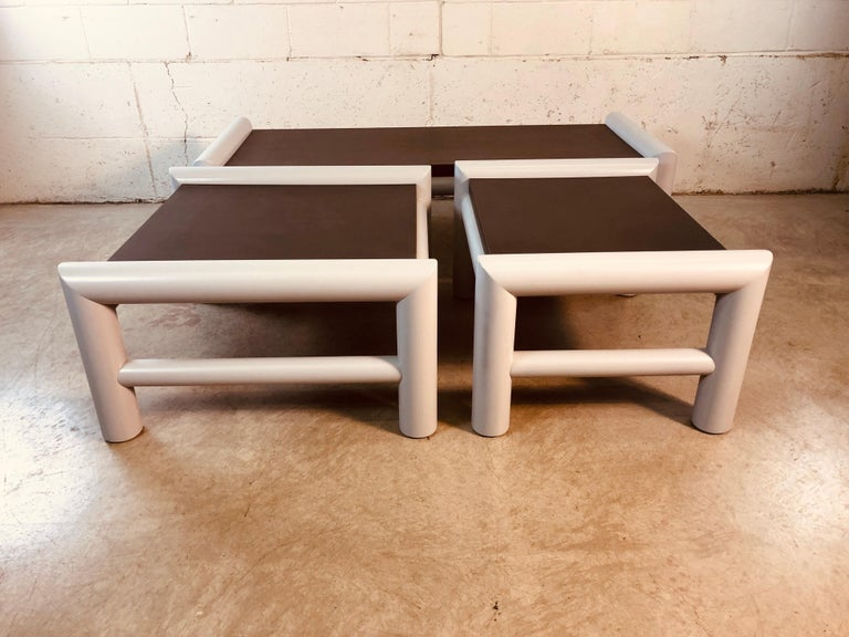 20th Century 1980s Plastic Indoor/Outdoor Table Set, 3 Pcs For Sale