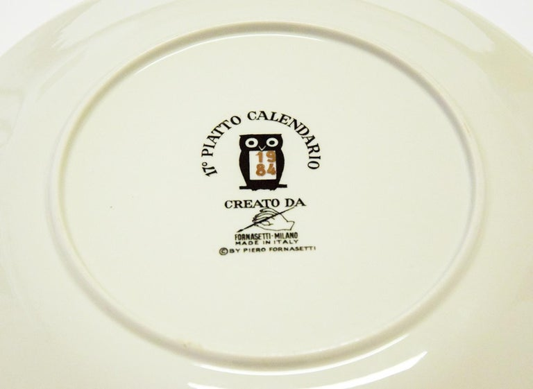 1980s Plates, Set of 8 Vintage Plates by Piero Fornasetti, 1980s In Good Condition For Sale In Roma, IT
