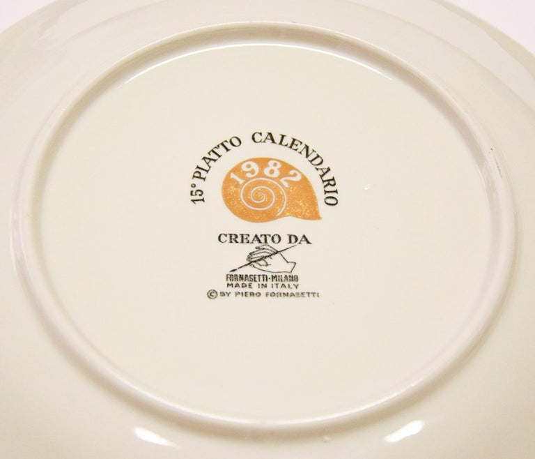 Late 20th Century 1980s Plates, Set of 8 Vintage Plates by Piero Fornasetti, 1980s For Sale