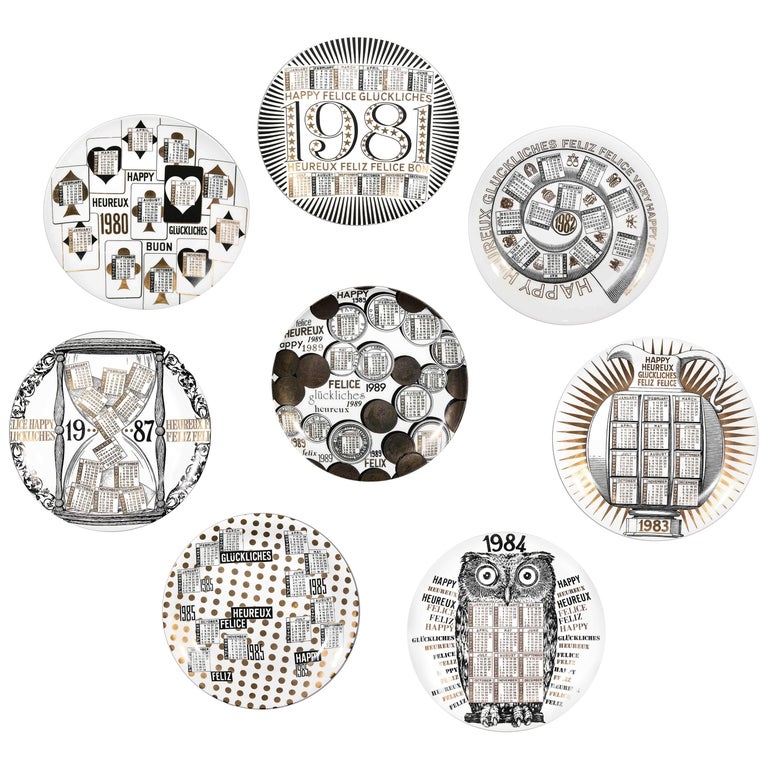 1980s Plates, Set of 8 Vintage Plates by Piero Fornasetti, 1980s For Sale