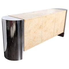 1980s Polished Chrome and Faux Parchment Sideboard by Brueton