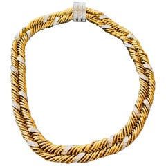 1980s Pomallato Yellow Gold and White Diamonds Set of Necklace and Bracelet
