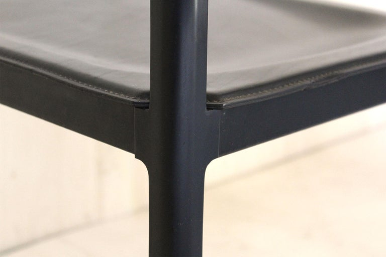 1980s Postmodern vintage Black leather Dining Chairs by Matteo Grassi  For Sale 7