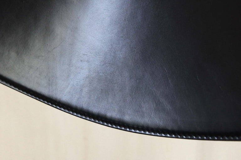 1980s Postmodern vintage Black leather Dining Chairs by Matteo Grassi  For Sale 10