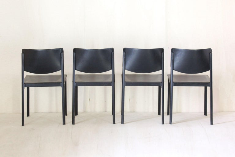 European 1980s Postmodern vintage Black leather Dining Chairs by Matteo Grassi  For Sale