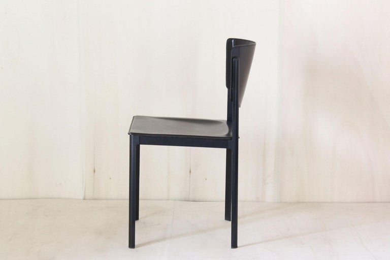 Steel 1980s Postmodern vintage Black leather Dining Chairs by Matteo Grassi  For Sale