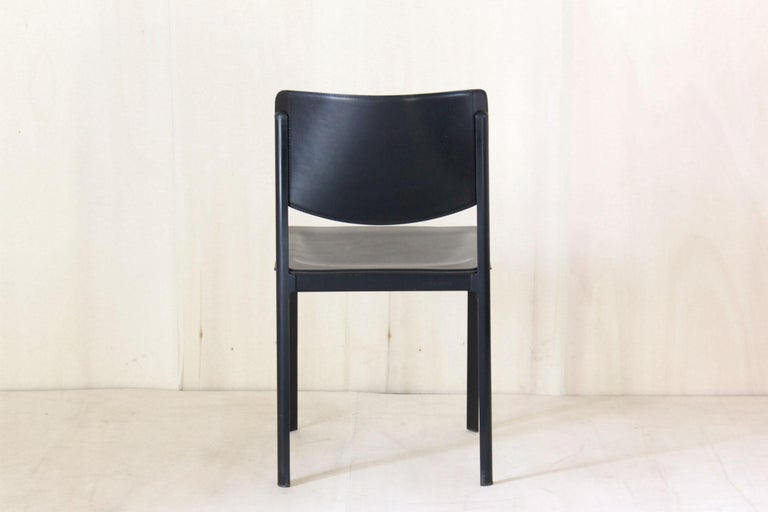 1980s Postmodern vintage Black leather Dining Chairs by Matteo Grassi  For Sale 2