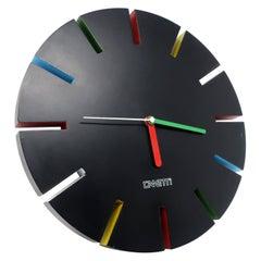 1980s Postmodern Black Canetti Wall Clock