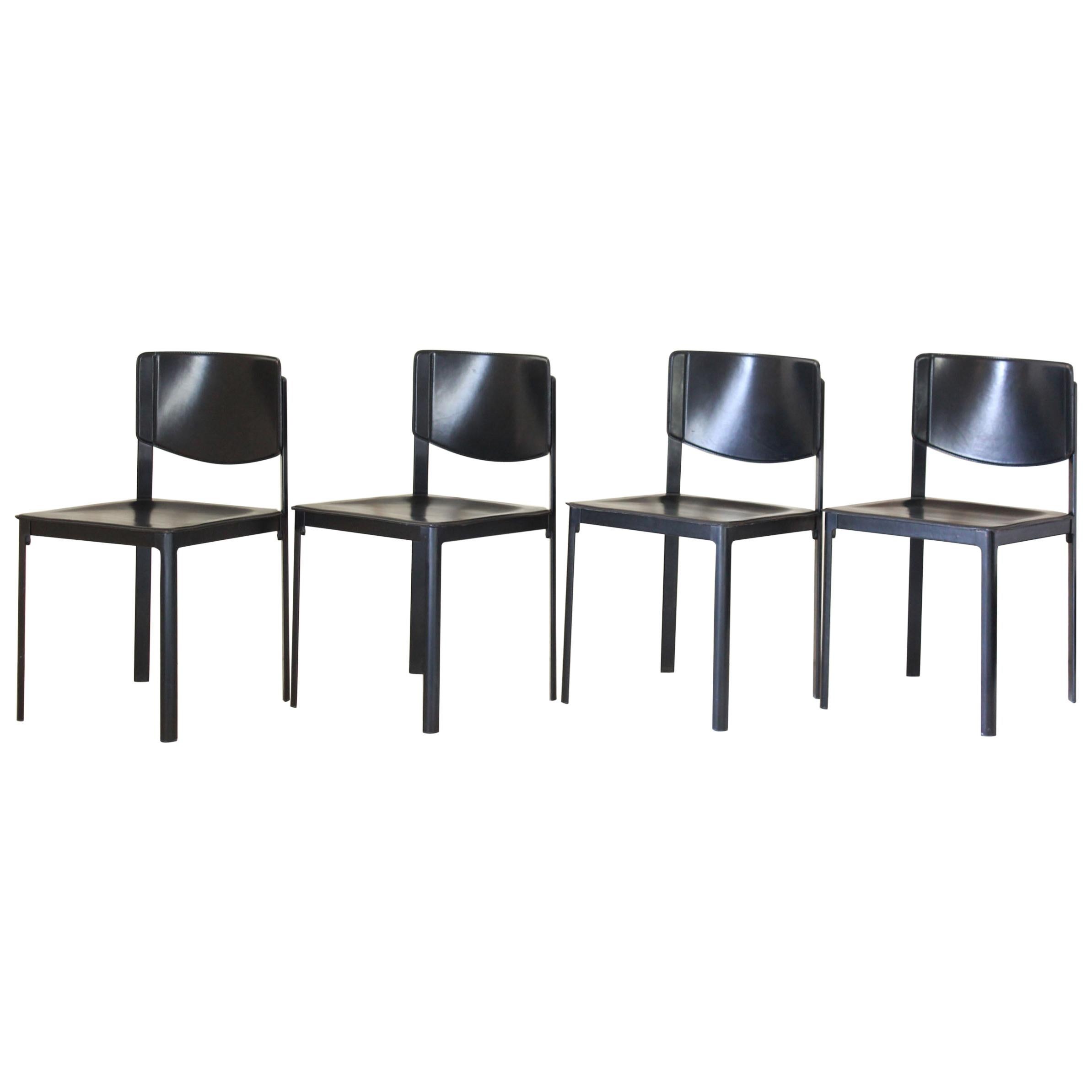 1980s Postmodern vintage Black leather Dining Chairs by Matteo Grassi