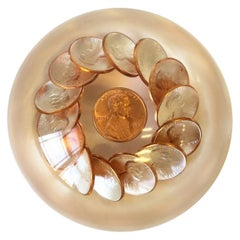 Postmodern Lucite Copper Penny Paperweight, 1980s