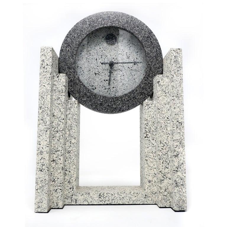 American 1980s Postmodern Mantle Clock by Empire Arts
