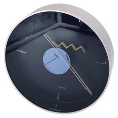 1980s Postmodern Memphis Era Italian Wall Clock by Nicola Canetti Signed