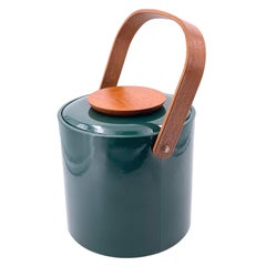 1980s Postmodern Naugahyde Wrapped Ice Bucket with Teak Handle