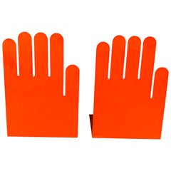 1980s Postmodern Orange Hand Bookends, a Pair