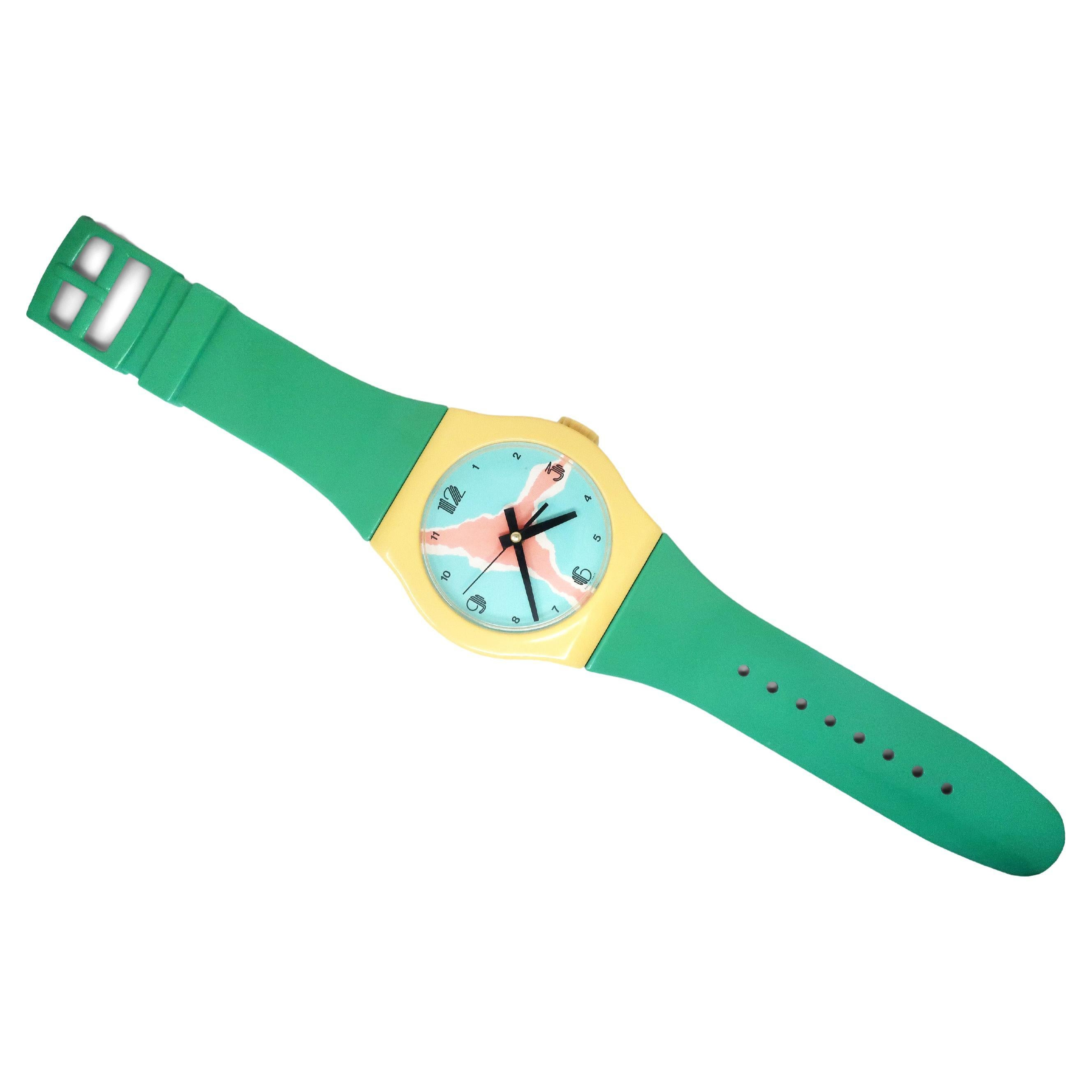 1980s Postmodern Wristwatch Wall Clock