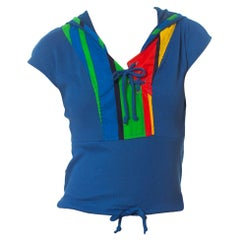 1980S Primary  Color Sporty Knit Top With Mesh Net Hood
