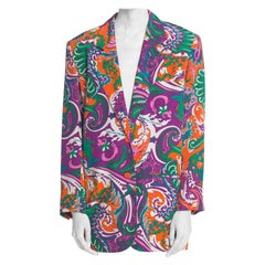 1980S PUCCI Style Silk Crepe De Chine Psychedelic Paisley Print Oversized Blazer