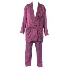1980S Purple Acetate Taffeta Oversized Blazer Pant Suit