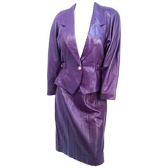 1980s Purple Leather Suit