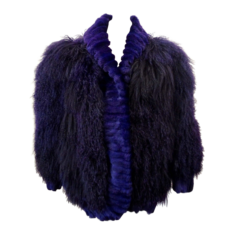Purple Mongolian Lamb 1980s Oversized Fur Jacket