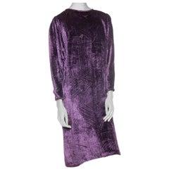 1980S Purple Silk Burnout Velvet  Loose Cut & Long Sleeved Cocktail Dress