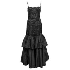 1980s Raffaella Curiel Black Lace and Sequin Gown