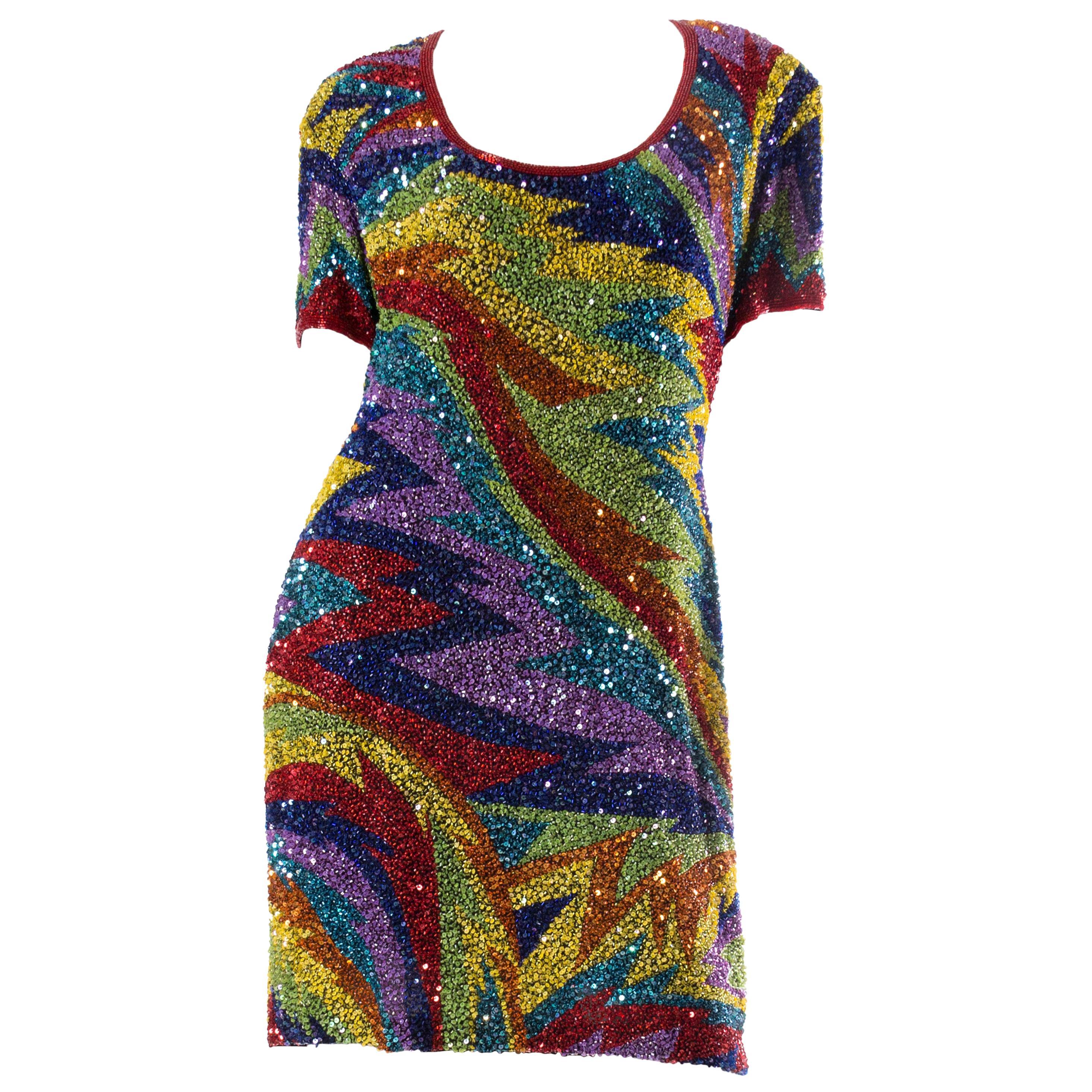1980s Rainbow Beaded Silk Cocktail Dress