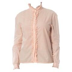 1980S RALPH LAUREN Baby Pink Victorian Cotton Shirt