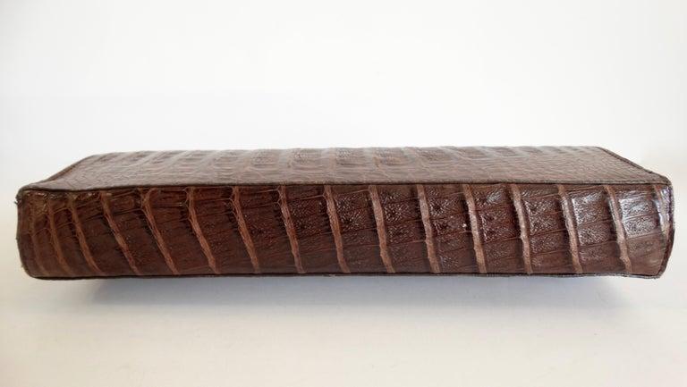 Donna Karan 1980s Caiman Crocodile Clutch In Good Condition For Sale In Scottsdale, AZ