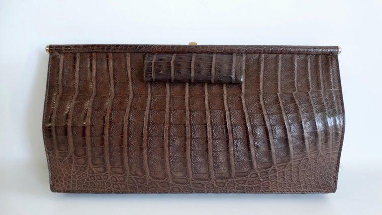 Donna Karan 1980s Caiman Crocodile Clutch For Sale 2